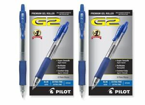 Pack Of 24 Pilot G2 Extra Fine 5 Mm Blue Gel Ink Rollerball Pens Office Supply