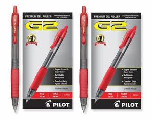 Pack Of 24 Pilot G2 Bold 10 Mm Red Gel Ink Pen Rollerball Pens Office Supply Set