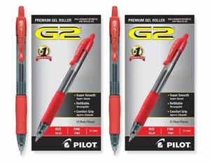 Pack Of 24 Pilot G2 Fine 7 Mm Red Gel Ink Pen Rollerball Pens Office Supply Set