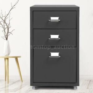 Ikayaa 3 Drawer Metal Mobile Filing Cabinet Home Office W 4 Casters Grey E2p1