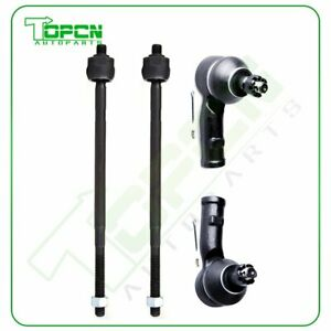 Pair 4 Inner And Outer Tie Rod End Links Kit For 00 04 Ford Focus Excluding Svt