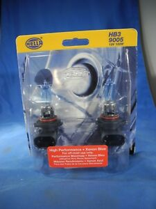 Hella H83165012 Hb3 9005 12v 100w High Performance Xenon Blue Halogen Bulb Set