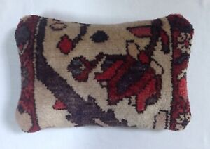 Antique 1930 S Persian Wool Garden Rug Pillow 9 1 2 X 14