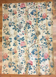 Vintage 1930 S French Linen Floral Printed Fabric 2038
