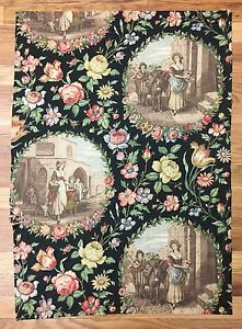 Vintage Rare 1930 S French Linen Scenic Toile With Flowers 2032