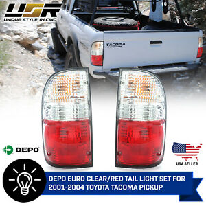 Depo Jdm Style Red Clear Rear Tail Lights Bulbs For 2001 2004 Toyota Tacoma