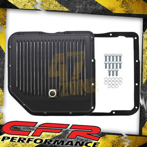 Chevy Gm Turbo Th 350 Aluminum Transmission Pan Kit Deep Finned Black