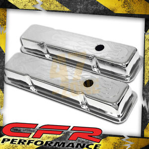 1958 86 Chevy Small Block 283 305 327 350 400 Short Steel Valve Covers Flamed