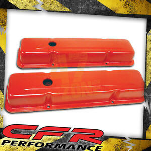 1958 86 Chevy Small Block 283 305 327 350 400 Tall Steel Valve Covers Orange