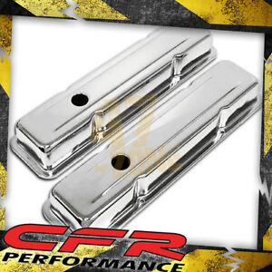 1958 86 Chevy Small Block 283 305 327 350 400 Short Steel Valve Covers Chrome