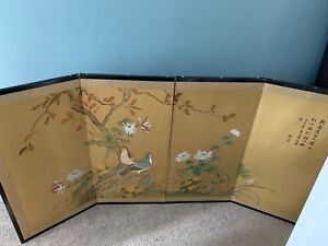 4 Panel Painted Screen Japanese Good Condition Silk Painting
