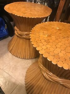 Mid Century Mcguire Rattan Bamboo Wheat Sheaf Table Bases Set Of Two End Tables