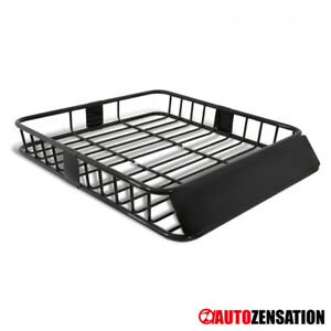 Universal 64 Extendable Steel Roof Rack Luggage Carrier Cargo Basket Black