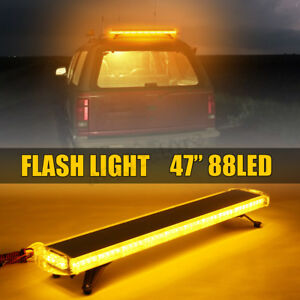 47 88 Led Emergency Beacon Warn Tow Truck Response Strobe Light Bar Amber Us