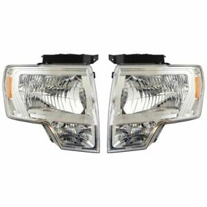 Headlight Lamp Halogen Chrome Lh Rh Pair Set For 09 14 Ford F150 Pickup Truck