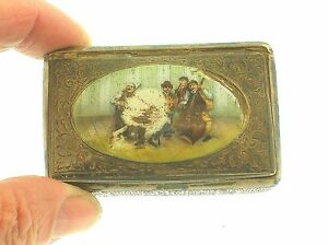 Antique Sterling Silver Hand Painted Enameled Music Band Snuff Box Very Rare
