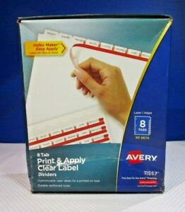 Avery Print And Apply Clear Label Dividers W index Maker 8 tab 50 pk Sets