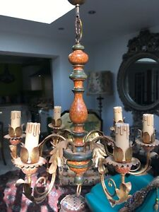 Antique Carved Painted Wood And Gilt Metal Continental Chandelier