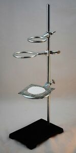 Heavy Laboratory Support Ring Stand W Wire Gauze Mesh 3 Support Rings