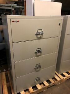 4 Drawer Lateral Size Fire proof File Cabinet By Fire King W lock