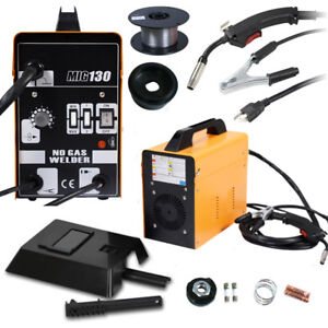Mig 130 Welder Flux Core Wire Automatic Feed Welding Machine W Mask 110v 60hz