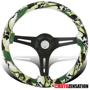 Universal 350mm Green Camo Dolphin Black 3 Spoke Sport Wooden Steering Wheel