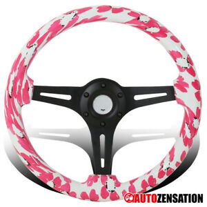 Universal 350mm Wooden Pink Flower Art Black 3 Spoke Sport Steering Wheel 1pc