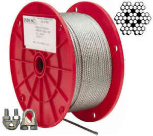 Aircraft Steel Cable Wire Rope 1000 1 8 7x7 Galvanized Cable optional Clamps