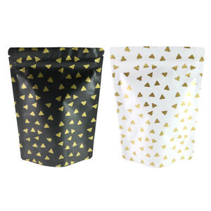 Matte White Or Black With Gold Triangles Design Zip Lock Mylar Bags 5 1x7 1in