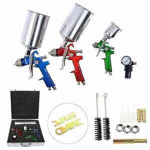 Multi function 3 Hvlp Air Spray Gun Kit For Spray Cars Machines Furniture New