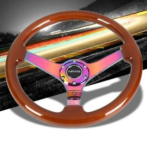 Brown Wood Neo Chrome Vintage 350mm 3 Deep Rst 036br Mc Nrg Steering Wheel Horn