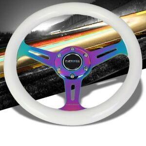 White Wood Neo Chrome Slit Hole 310mm St 310wt Mc Nrg Steering Wheel Horn Button
