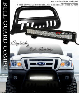 Black Hd Bull Bar Bumper Grille Guard 120w Cree Led Fog Light 98 11 Ford Ranger