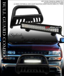 Matte Black Hd Bull Bar Guard 120w Cree Led Light For 00 06 Chevy Suburban Tahoe