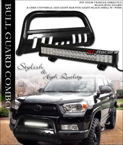 Blk Bull Bar Bumper Guard 120w Cree Led Fog Light Lamp For 10 18 Toyota 4runner