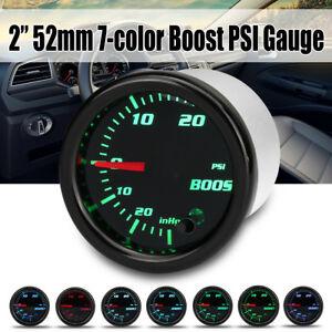 2 52mm 7 Color Led Car Turbo Boost 30psi Pressure Vacuum Gauge Meter 12v Black