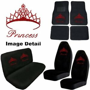 Red Princess W Crown Crystal Studded Rhinestone Floor Mats Seat Covers Combo