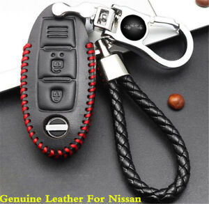 Car Genuine Leather Remote Key Bag Case Holder Cover Key Chain Fit For Nissan