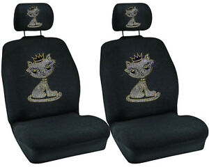 White Kitty W Crown Crystal Studded Rhinestone Car Low Back Seat Covers 4pc
