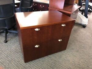 2dr 36 w Lateral File Cabinet By Kimball Office Furniture In Cherry Wood Veneer
