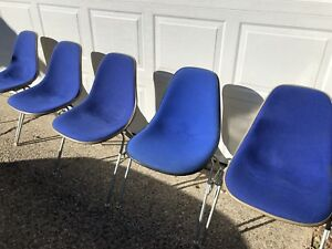 Genuine Vintage Herman Miller Eames Fiberglass Arm Shell Chairs Blue Fiberglass