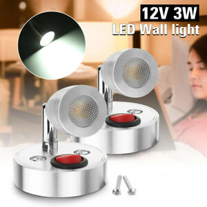 2x 12v 3w Interior Led Spot Light For Motorhome Camper Caravan Bedside Wall Us