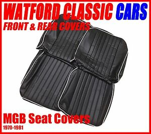 Mgb Roadster And Gt Pair Of Seat Covers 1970 1981 Leather Look Black white