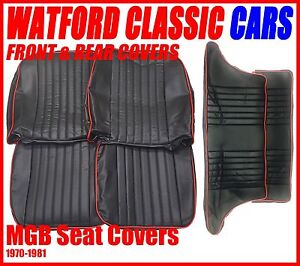 Mgb Gt Front And Rear Seat Covers 1972 1981 Black With Red Piping