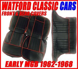 Mgb Gt Front And Rear Seat Covers 1962 1968 Black With Red Piping