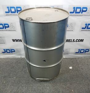 Used 55 Gallon Stainless Steel Barrel Large Dent Sku X9