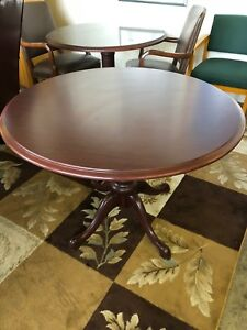 Traditional Style Round Conference Table By Kimball In Mahogany Laminate