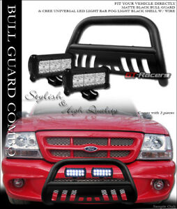 Matte Black Hd Bull Bar Bumper Guard W 36w Cree Led Fog Lights 98 11 Ford Ranger
