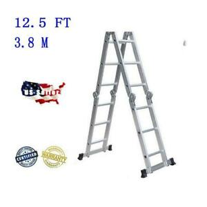 Aluminum Ladder Folding 12 5ft Step Scaffold Extendable Heavy Duty Platform