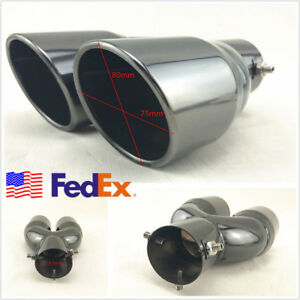 Us Stock Titan Black 2 5 Inlet Angled Autos Round Dual Exhaust Tip Pipe Muffler